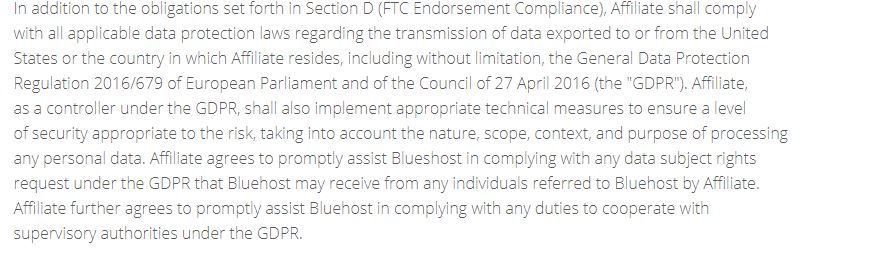BlueHost Affiliate Agreement GDPR clause