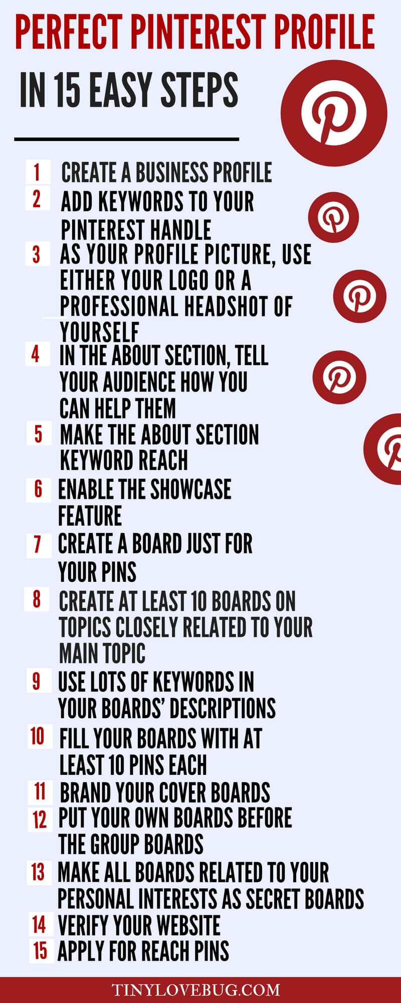 Pinterest for bloggers: Pinterest profile infographic