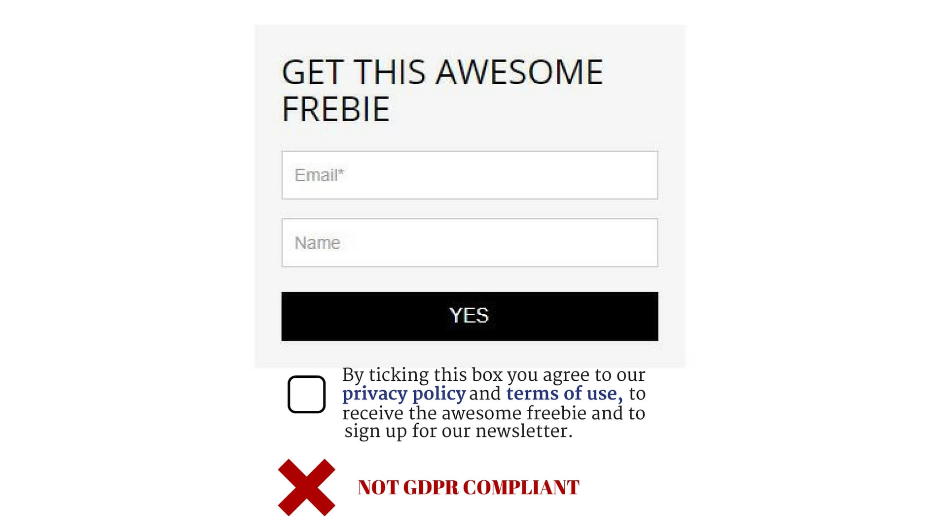 Sign up form - not GDPR compliant - bundled - not distinguishable