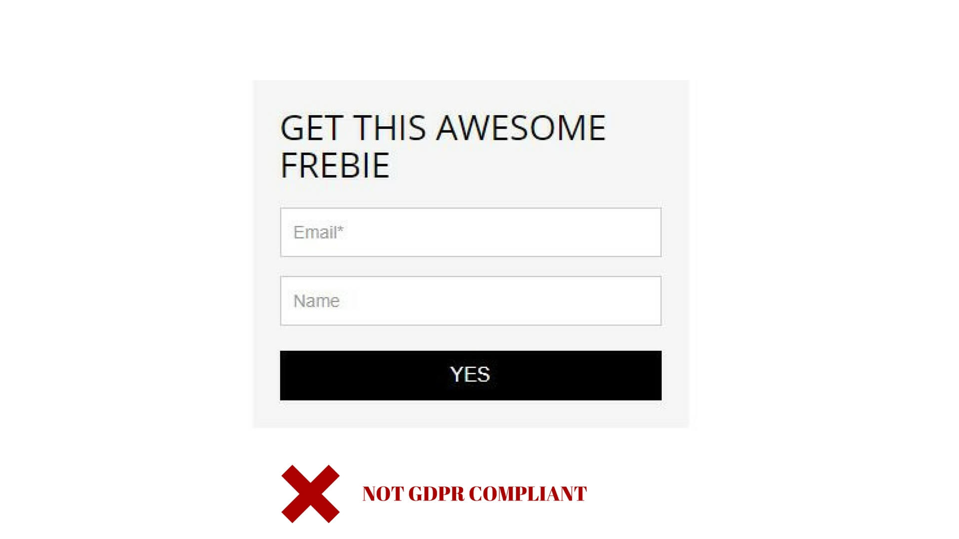 Sign up form - not GDPR compliant - no privacy policy