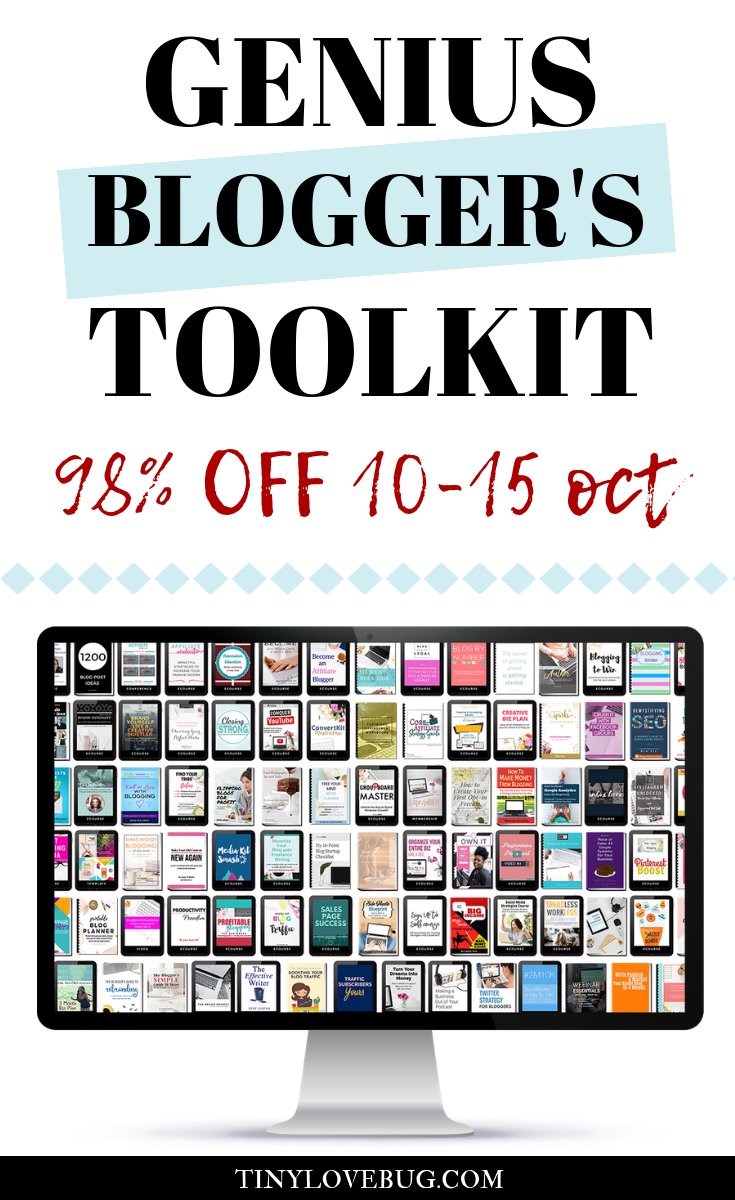 The Genius Blogger's Toolkit is back! $5,000 worth of blogging goodies (books, courses, printables, conferences and more) at the price of an e-book. 6 days only, 98% OFF. Don't miss this opportunity! #bloggingtips #howtoblog