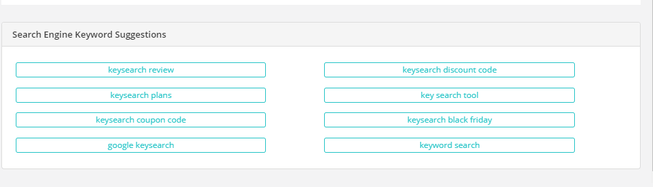 keywords suggestion on Keysearch