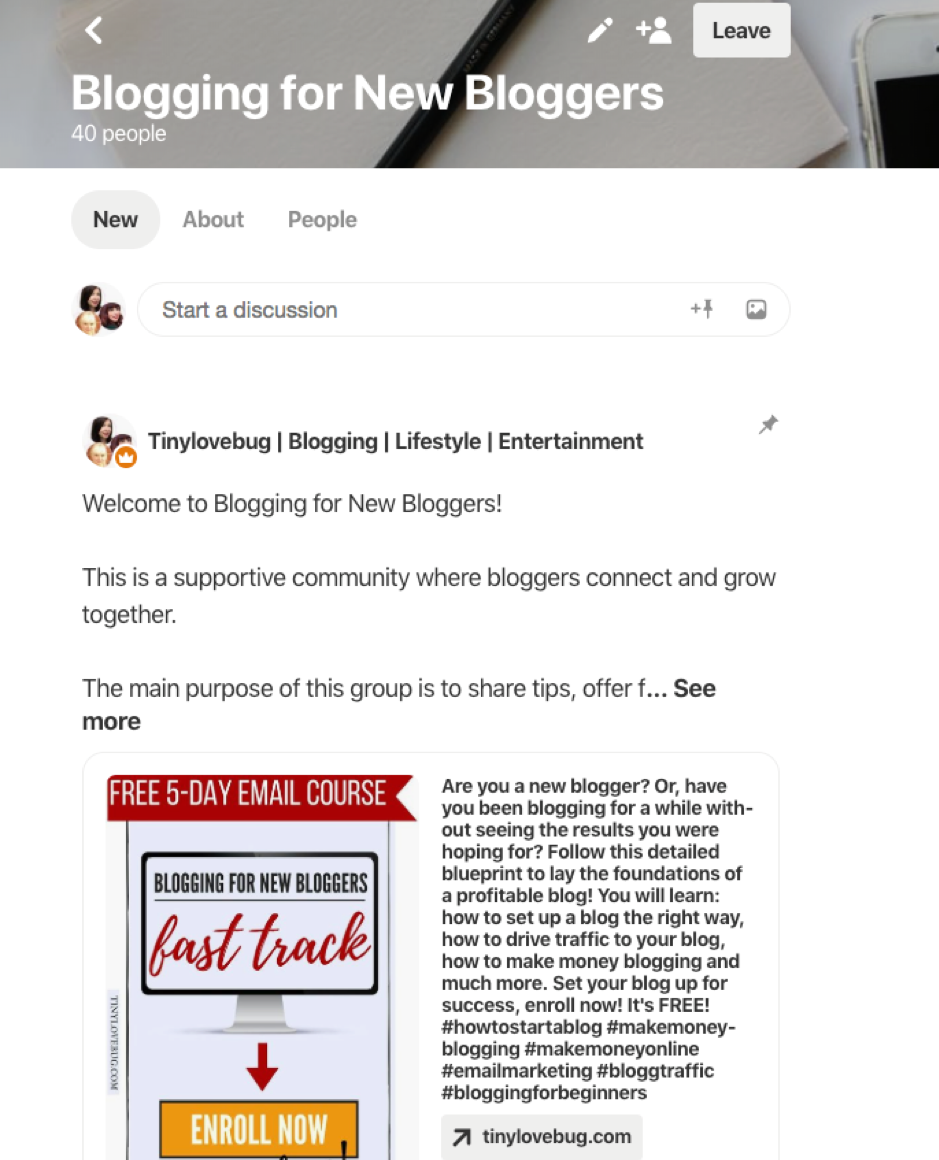 Pinterest community blogging for new bloggers