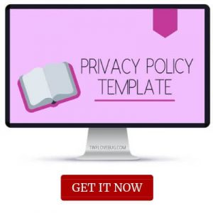 Computer with overlay text privacy policy template. Get it now. Template for bloggers