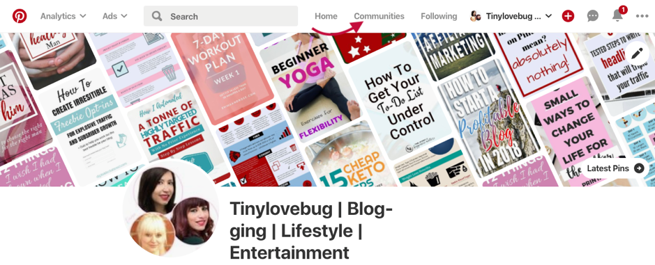 Pinterest communities tab