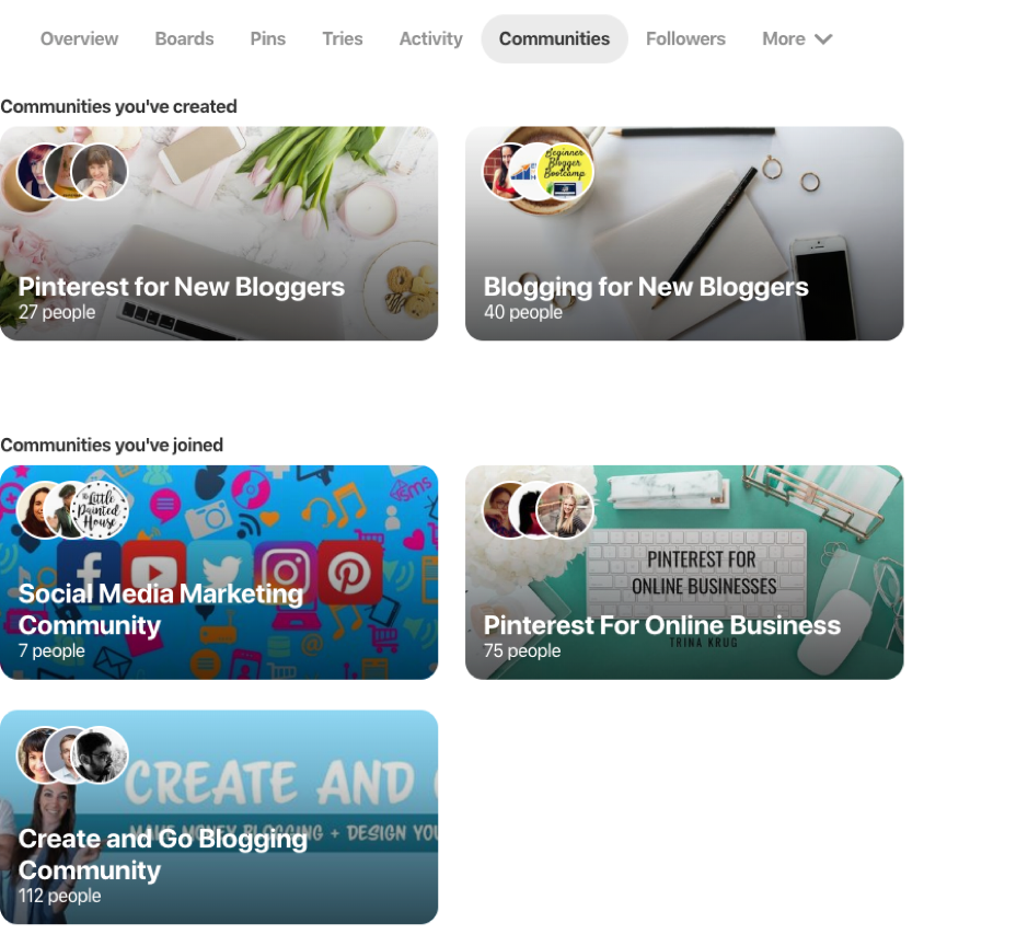 Pinterest communities feature
