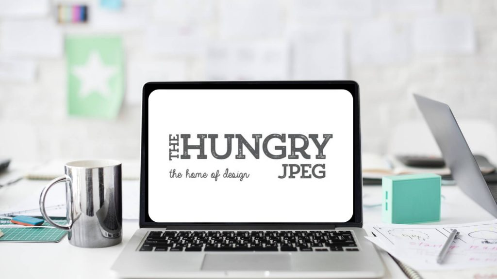 Workstation with laptop - overlay text Design resources for bloggers_ thehungryjpeg - review